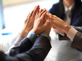 Image of business people hands on top of each other — Foto Stock