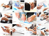Business theme photo collage composed of different images — Stock Photo
