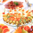 Catering table set service with silverware and glass stemware at restaurant before party — Stock Photo #47849231