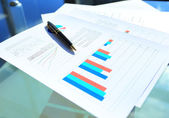 Financial and business color charts and graphs on the table — Stock Photo