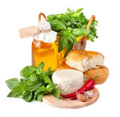 Fresh cheese with bread — Stock Photo