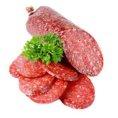 Salami on a white background — Stock Photo