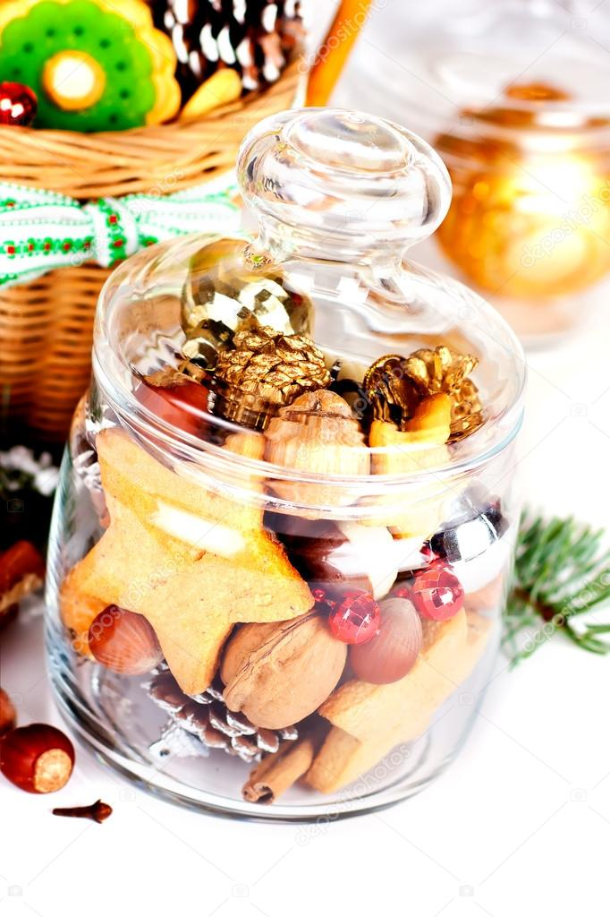 Christmas sweets in a glass jar on a white background — Stock Photo #15431245