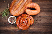 Sausage, bread and spices — Stock Photo