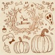 Hallowen hand-drawn set. Autumn template. — Stock Vector