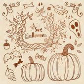 Hallowen handgezeichneten satz. herbst-vorlage. — Stockvektor