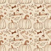 Hallowen hand-drawn seamless pattern. — Stock Vector