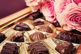 Sweet gift. Various chocolates in box. — Stock Photo
