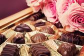 Sweet gift. Various chocolates in box. — Stock Photo