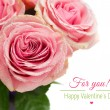 Stock Photo: Roses on white background with text.