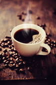 Steaming cup of freshly brewed coffee. — Stock Photo