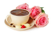 Сoffee and roses — Stock Photo