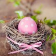 Pink easter egg in nest — Stock Photo