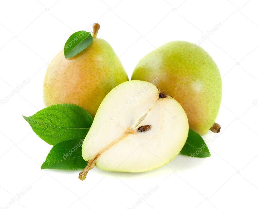 用树叶片的梨