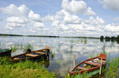 Lake beautiful landscape with boats — Stock Photo