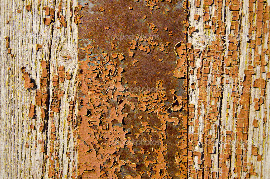 Old painted wooden door background and texture  Stock Photo #12551467