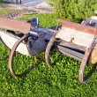 Historical horse sledge in farm - Stock Photo