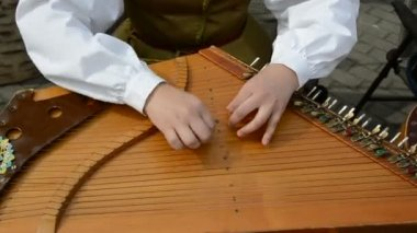 Girl hands playing with stringed instrument — Vidéo