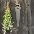 Stock Video: Hanging herbs bunch on old wooden wall
