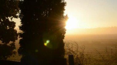 Krásný východ slunce a ranní mlhy — Stock video