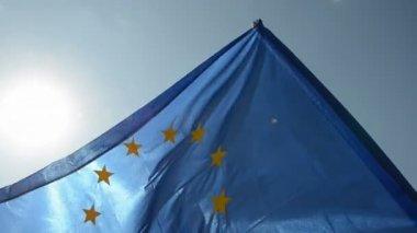 European union flag in wind — Stock Video