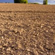 Plowed autumn farm field landscape with clouds — Stock Photo