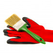 Stock Photo: Isolated red protective glove and brush tool