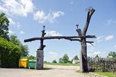 Original wooden farm museum gate — Stock Photo