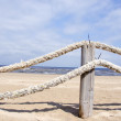 Ropes fence on resort beach nea sea — Lizenzfreies Foto