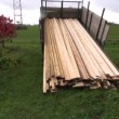 Stock Video: Sawn timber planks stack in truck