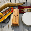 Various original musical instruments - Stock Photo