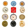 Stock Photo: Antique clock dial collection isolated on white