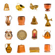 Ancient brass and copper objects and tools collection on white — ストック写真