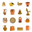 Stock Photo: Ancient brass and copper objects and tools collection on white