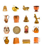 Ancient brass and copper objects and tools collection on white — Stock Photo