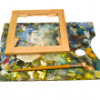 Stock Photo: Painters palette with brush and canvas frame on white