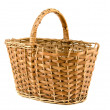 Old aged wicker basket on white — Zdjęcie stockowe