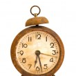 Ancient grunge and rusted alarm-clock on white — Stock Photo
