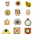 Assorted vintage clock and alarm-clock collection on white — Stock Photo