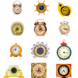 Assorted vintage clock and alarm-clock collection on white — Stock Photo #14297053
