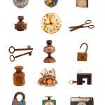 vários objetos antigos e ferramentas sortidas grupo em branco — Foto Stock