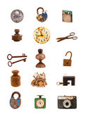 Various old objects and tools assorted group on white — Stock Photo