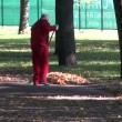 Worker raking autumn leaves in park — Stock Video