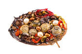 Original handmade brooch with various stones and shells — Stock Photo