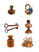 Assorted rusty metal objects and tools on white — Stock Photo