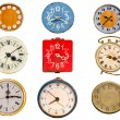Stock Photo: Nine ancient clock dial isolated on white