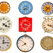 Nine ancient clock dial isolated on white - Stock Photo