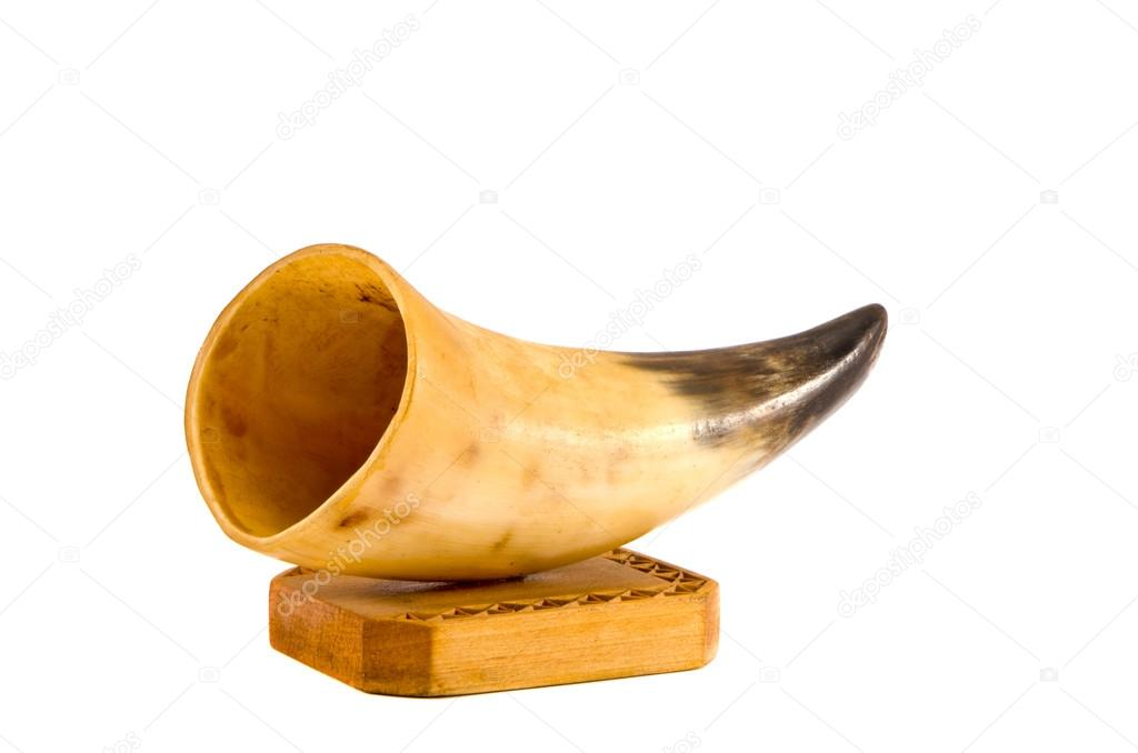 Handmade cow horn vase isolated on white background   #14928445