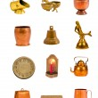 Vintage brass objects and tools collection — Stock Photo
