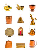 Vintage brass objects and tools collection — 图库照片